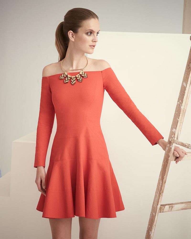 Lela Rose Off-The-Shoulder Tiered Dress