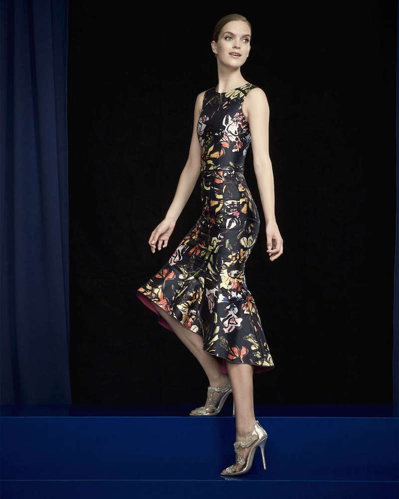 Oscar de la Renta Abstract Floral-Print High-Low Flounce Hem Dress
