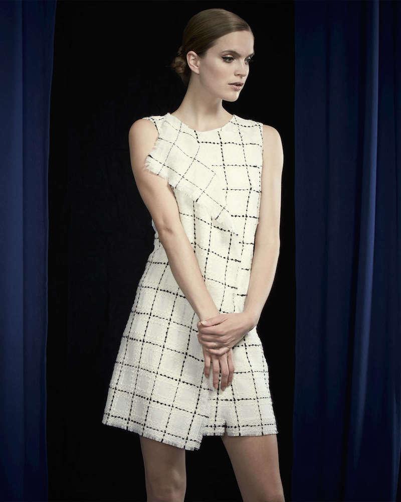 Oscar de la Renta Check Tweed Fringe-Trimmed Dress