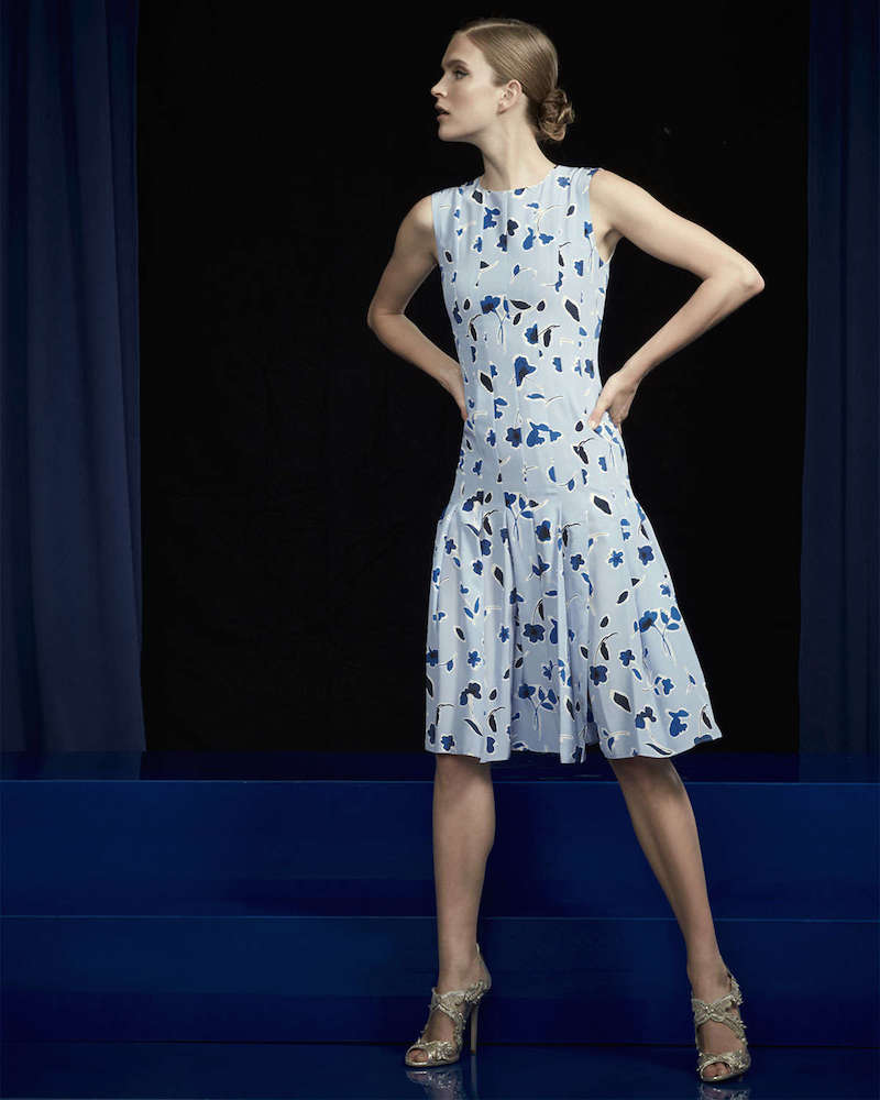 Oscar de la Renta Falling Tulip-Print Pleated Dress