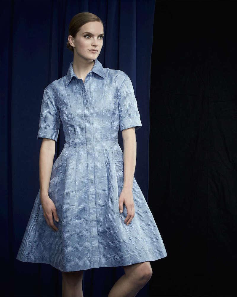 Oscar de la Renta Half-Sleeve Embroidered A-Line Shirtdress