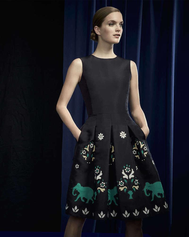 Oscar de la Renta Jewel-Neck Sleeveless Elephant Embroidered Dress