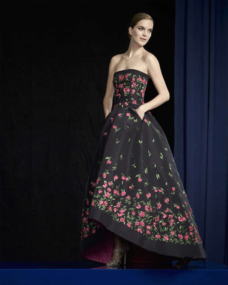 Oscar de la Renta Strapless Floral-Embroidered High-Low Gown