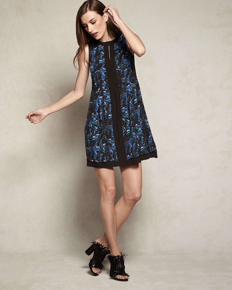 Proenza Schouler Printed Slit-Keyhole Flared Dress