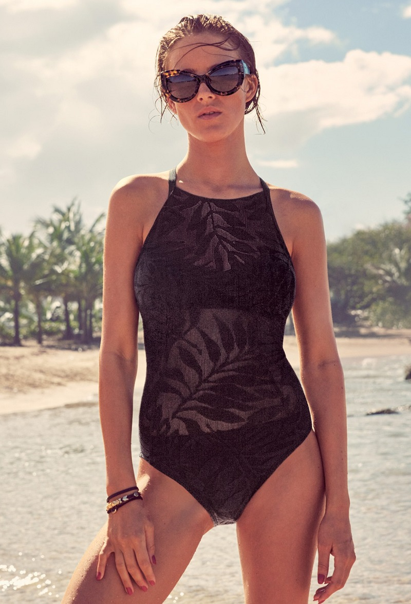 Robin Piccone Burnout Halter One-Piece Swimsuit