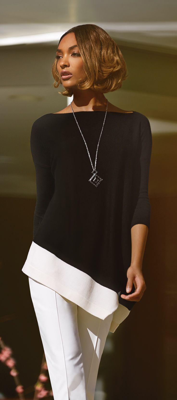 St. John Collection Asymmetrical Merino Wool Sweater