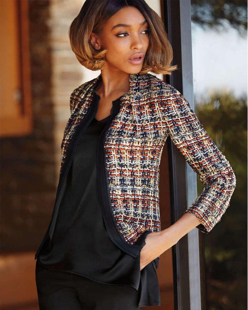 St. John Collection Opulent Tweed 3 4-Sleeve Jacket