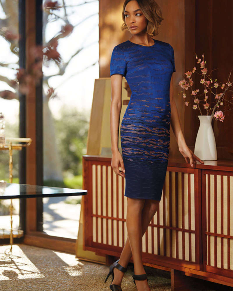St. John Collection Sunset Jacquard Knit Sheath Dress