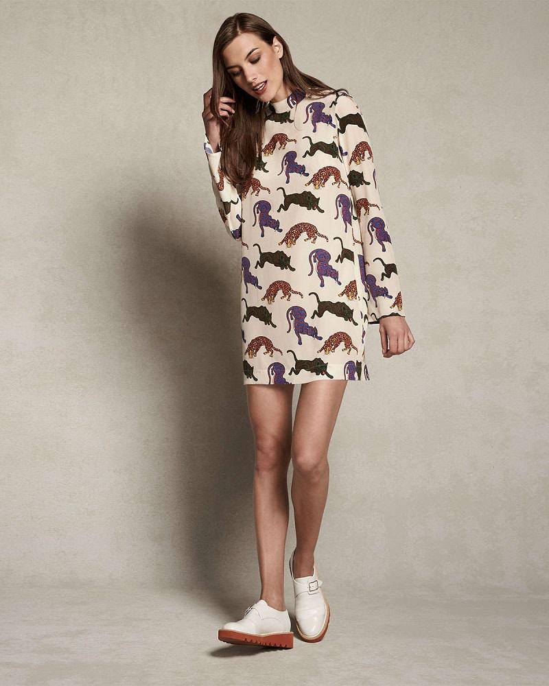 Stella McCartney Cat-Print Charmeuse Shift Dress