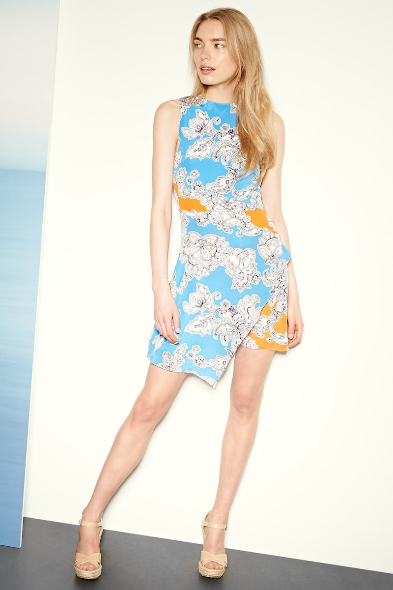 Tanya Taylor Mackenzie Print Wrap A-Line Silk Dress