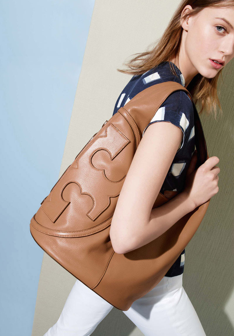 Tory Burch All T Logo Leather Hobo