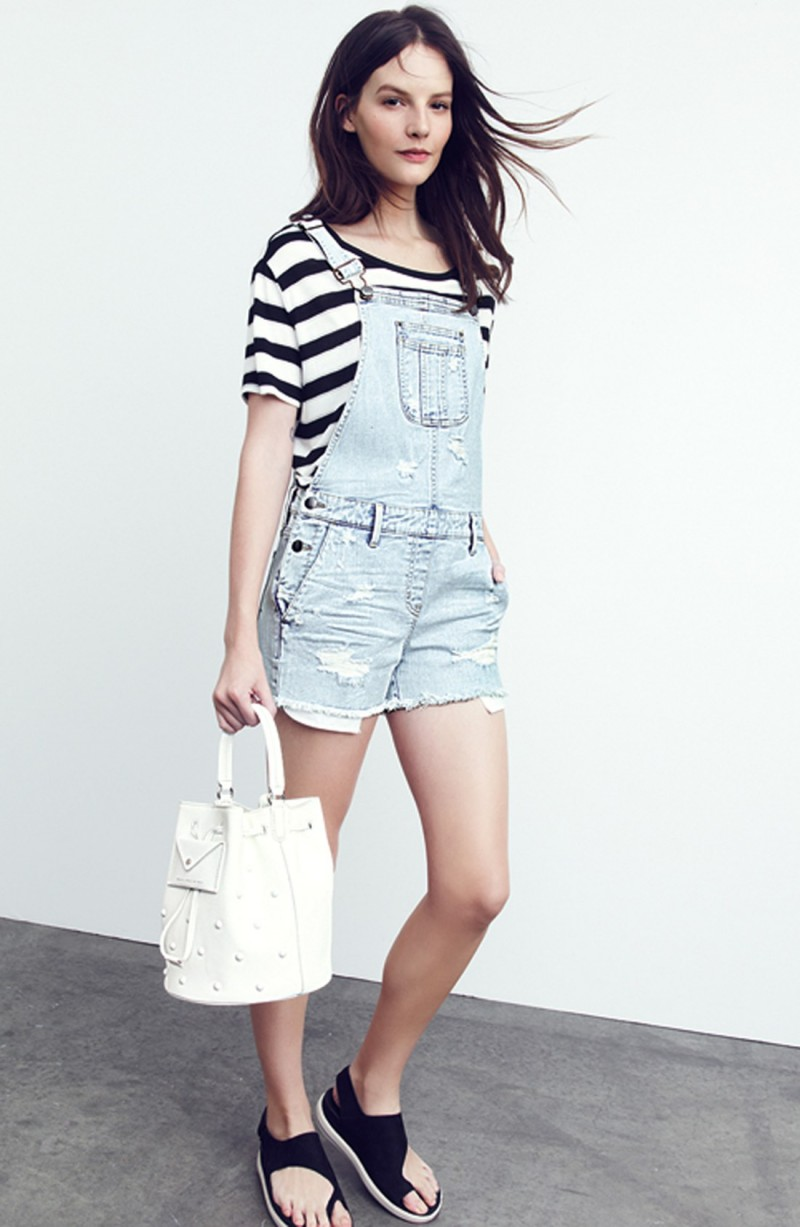 Treasure & Bond Distressed Short Denim Overalls