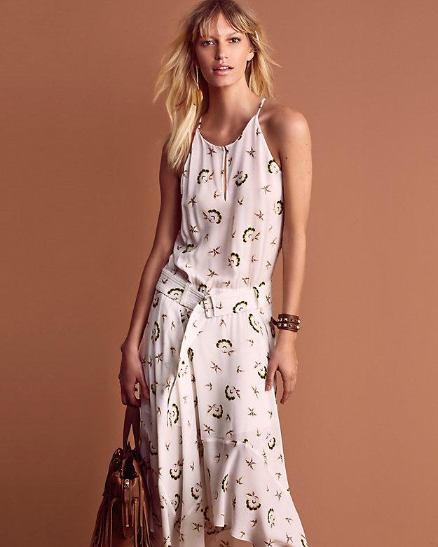 A.L.C. Topper Belted Printed Midi Dress