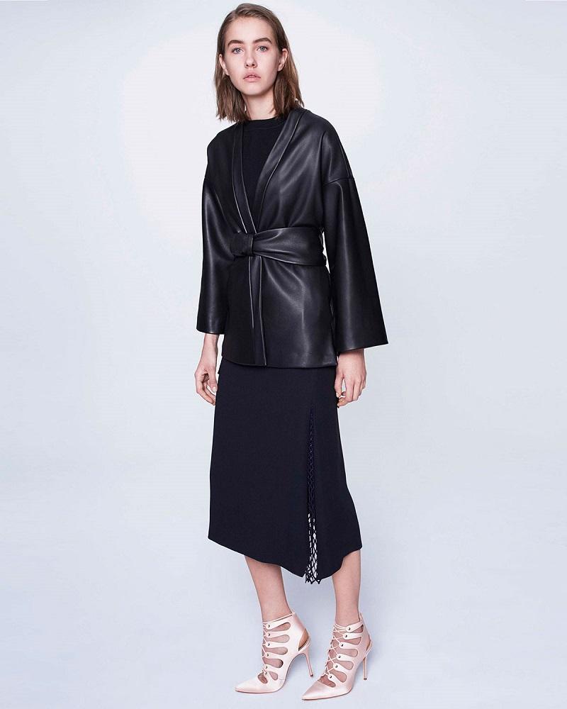 Adam Lippes Belted Leather Kimono Jacket