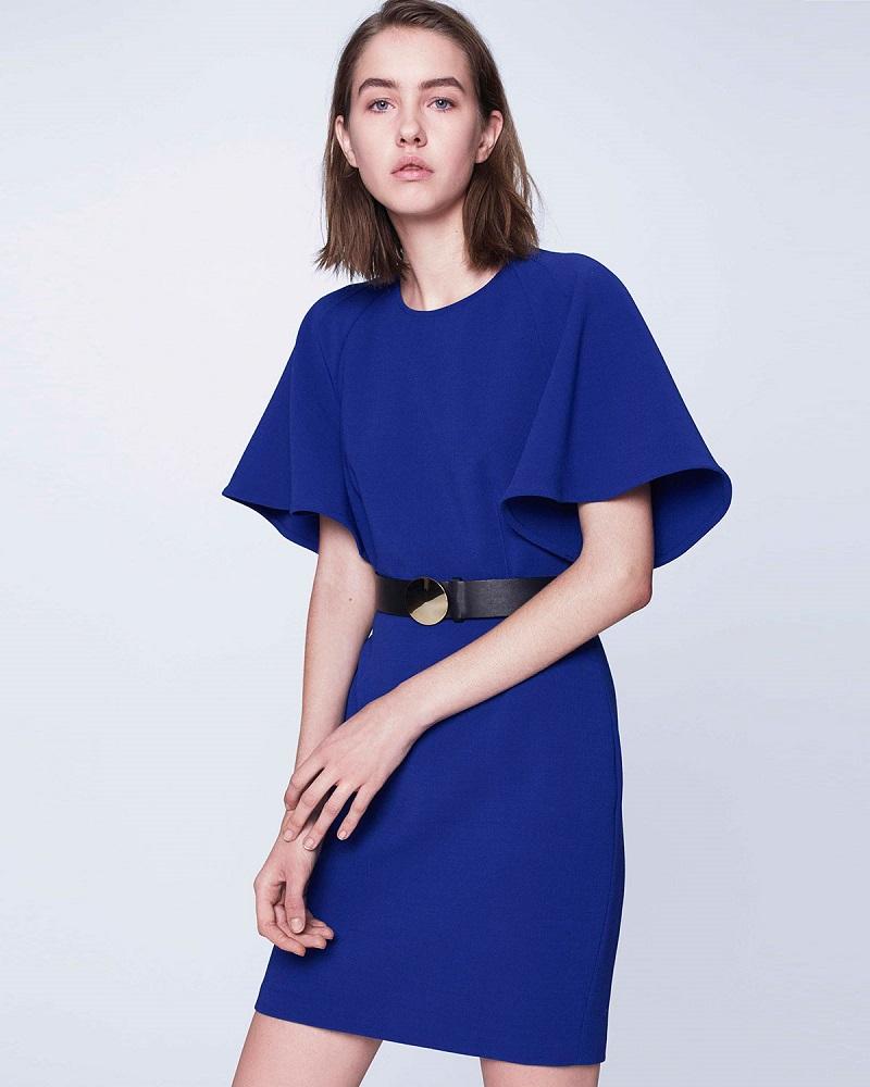 Adam Lippes Flutter-Sleeve Crepe Mini Dress