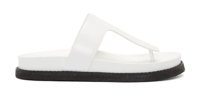 Alexander Wang Bleach White Polished Leather Agnes Flat Sandals