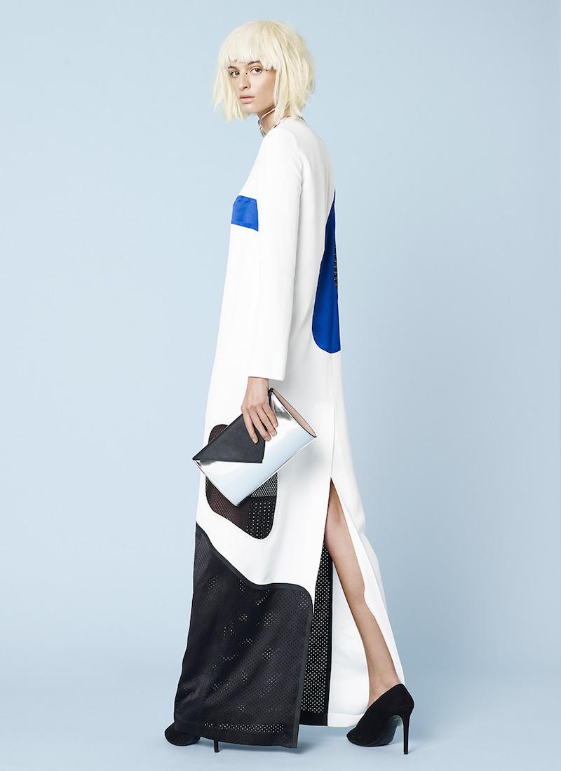 Alexander Wang Laser Cut Welded Long Sleeve Maxi Dress