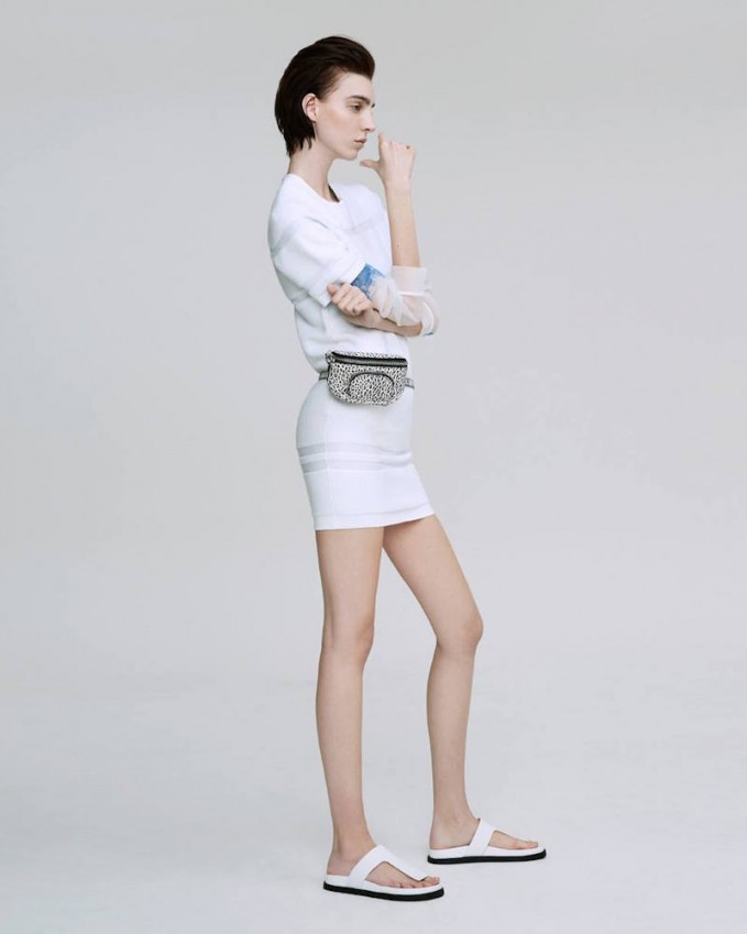 Alexander Wang White Terrycloth Relief Striped Dress