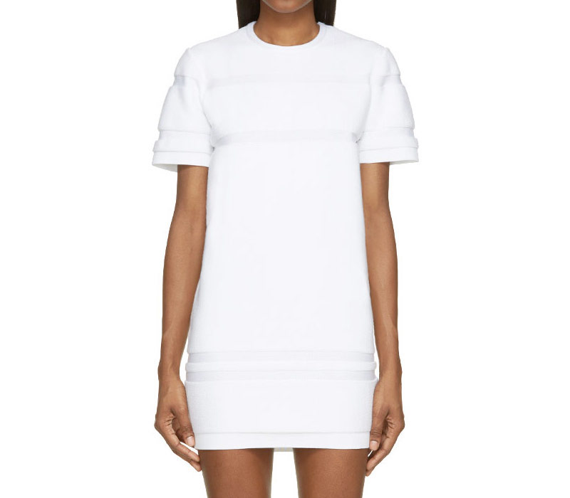 Alexander Wang White Terrycloth Relief Striped Dress_1