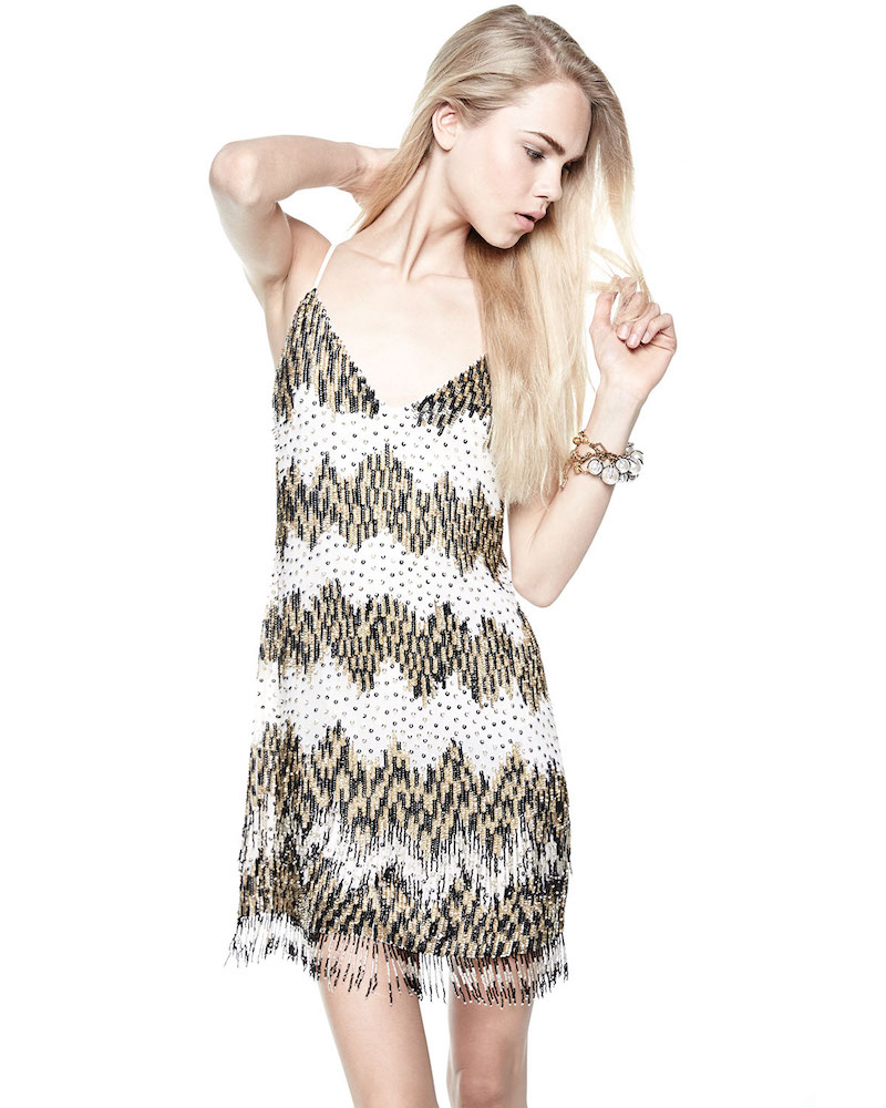 Alice + Olivia Chevron Beaded Slip Dress