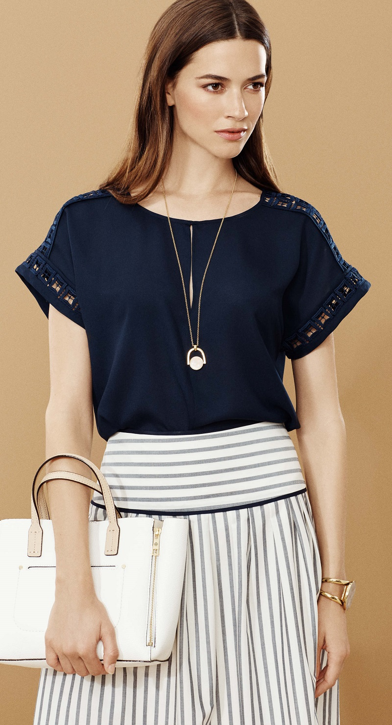 Ann Taylor Crepe Lace Inset Top