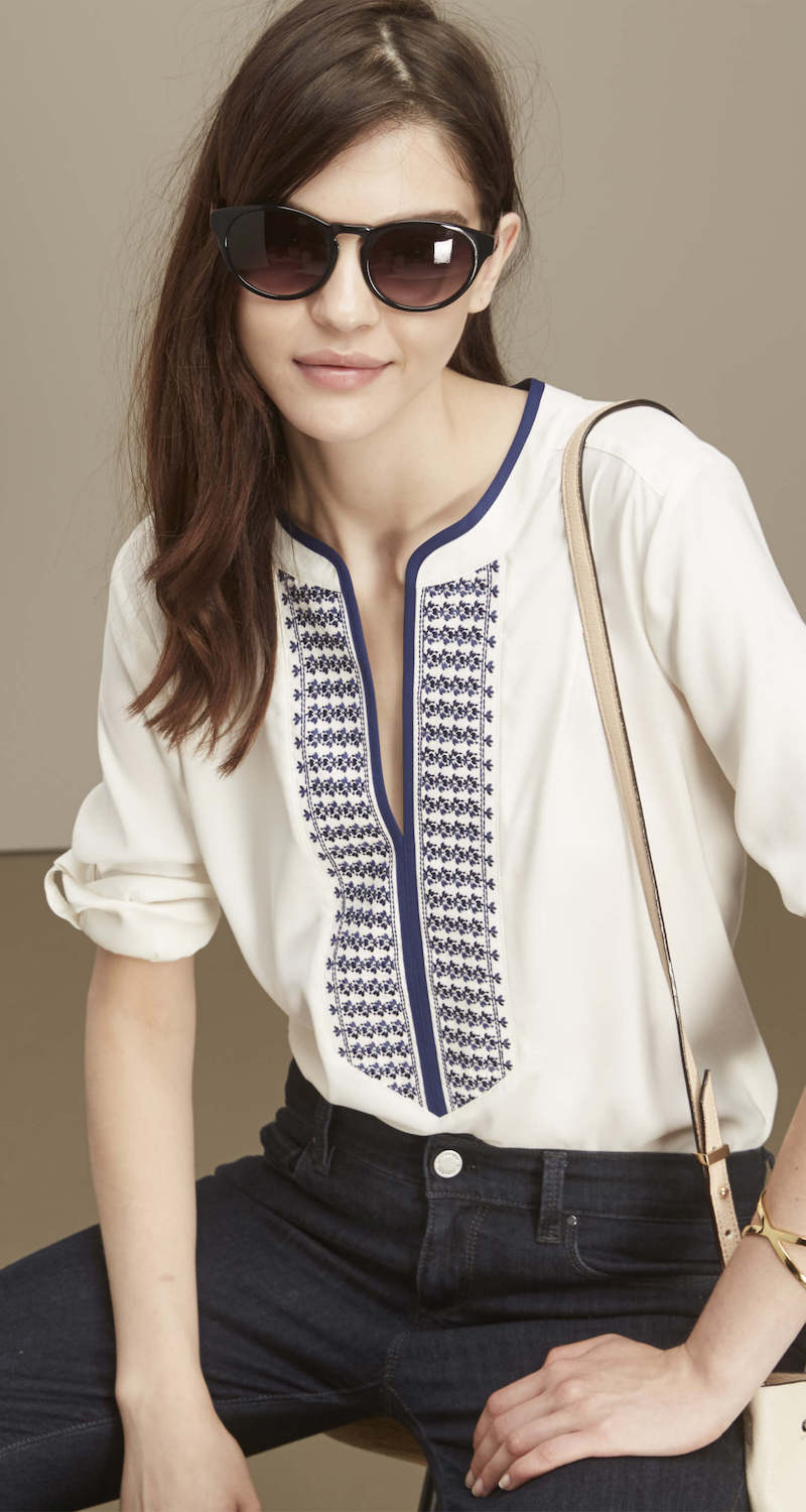 Ann Taylor Embroidered Split Neck Tunic