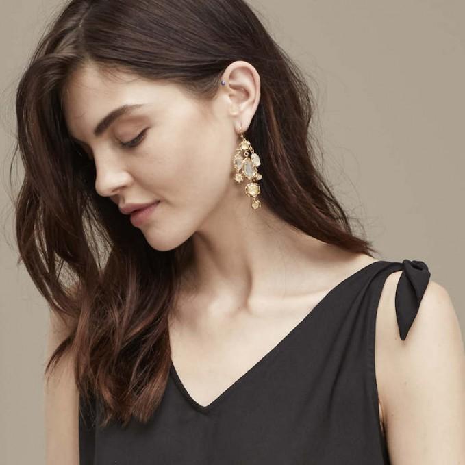 Ann Taylor Multi Crystal Chandelier Earrings