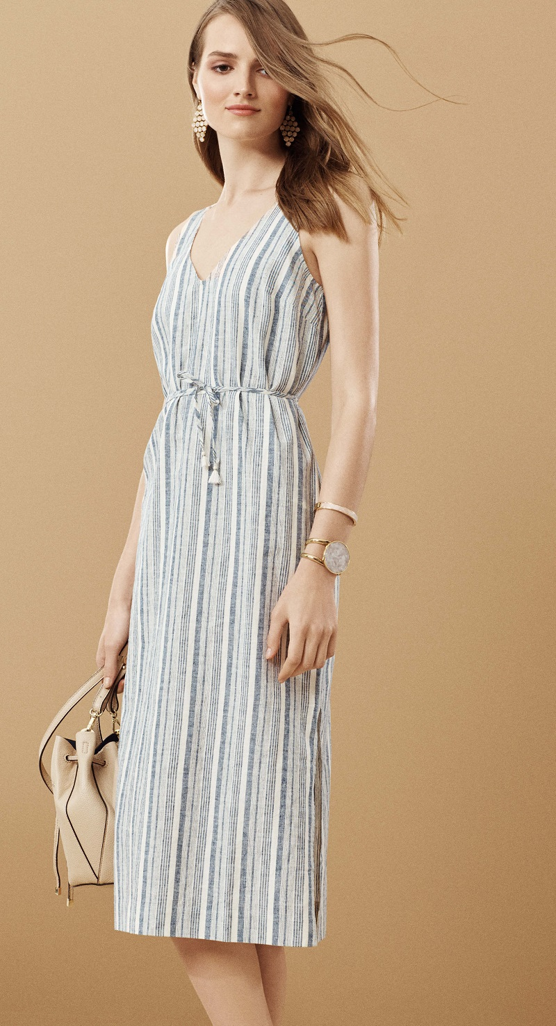 Ann Taylor Petite Striped Linen Cotton Midi Dress