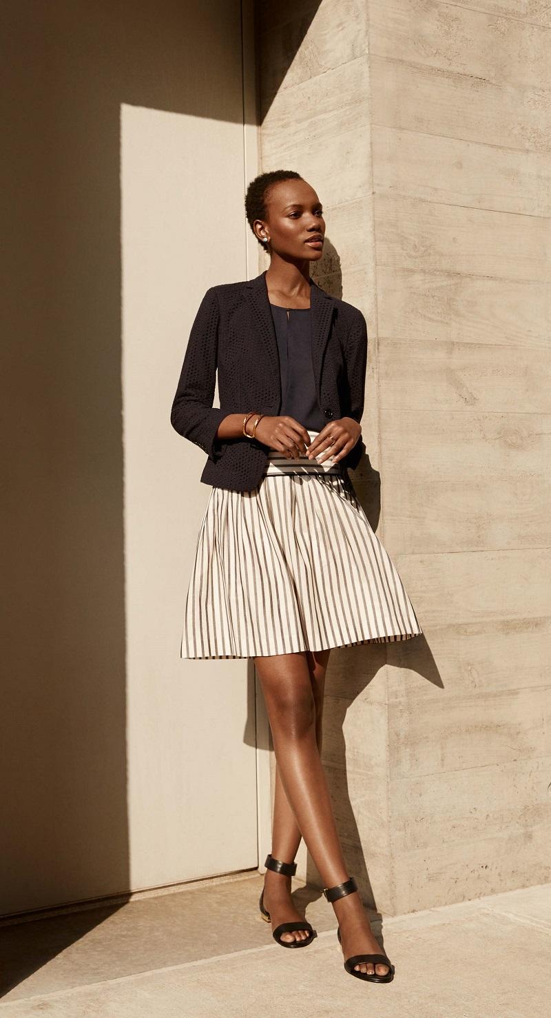 Ann Taylor Stripe Full Skirt
