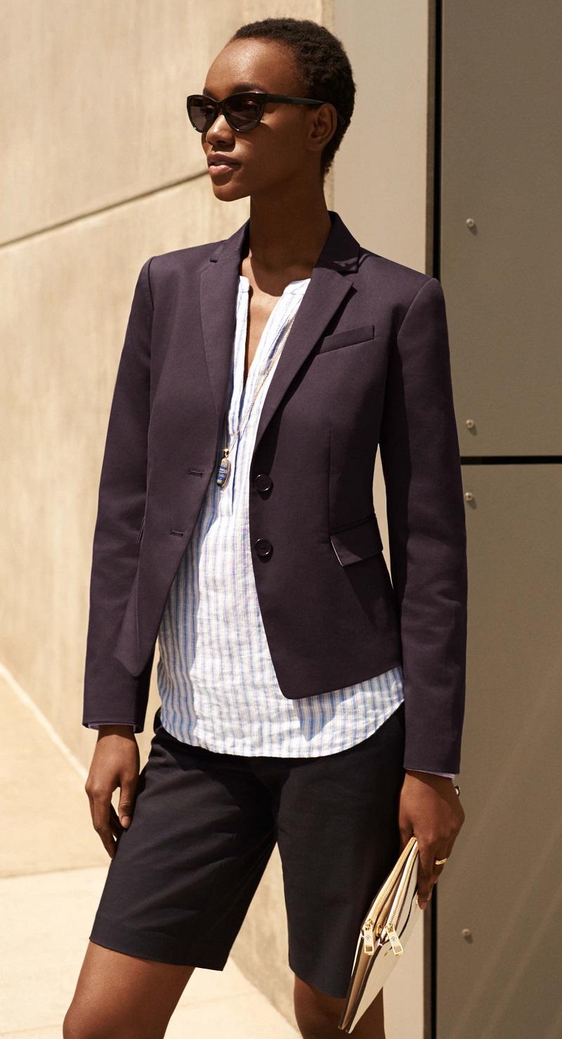 Ann Taylor Striped Linen Split Neck Tunic