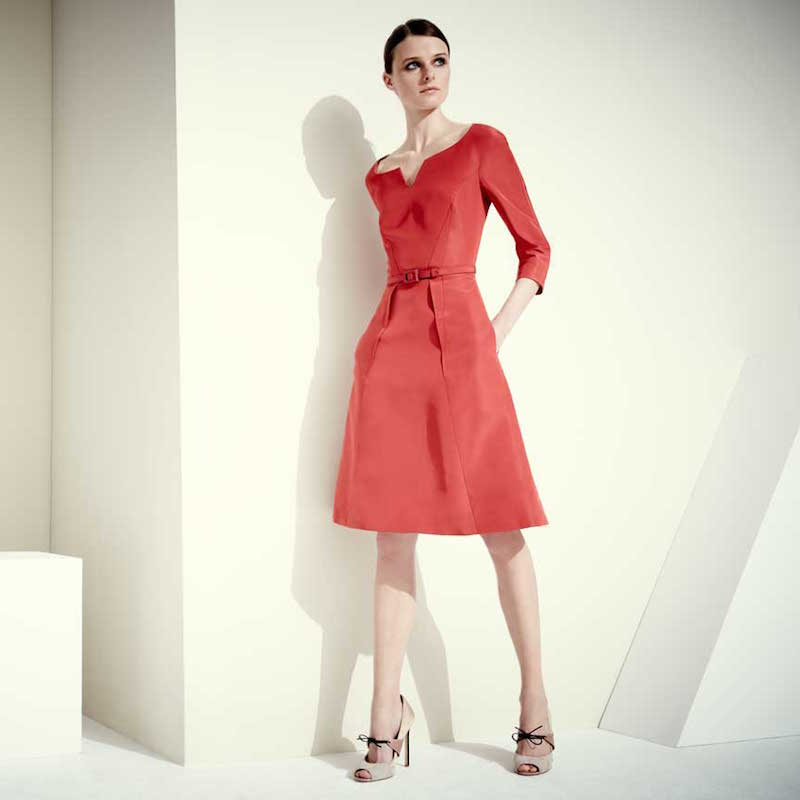 Carolina Herrera Ballet Split-Neck Structured A-Line Dress