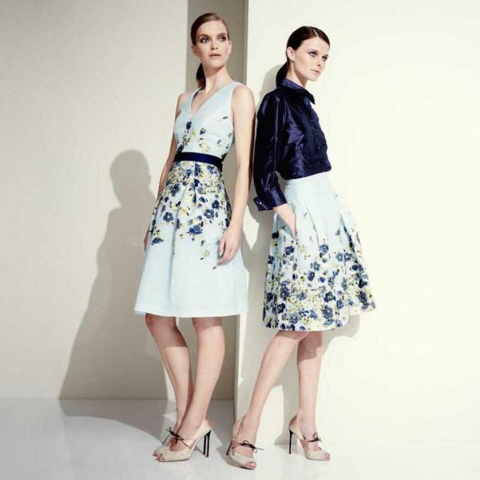 Carolina Herrera Flower Fil Coupe Party Skirt