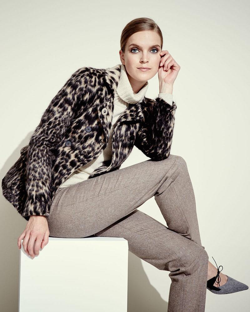 Carolina Herrera Leopard Jacquard Peacoat