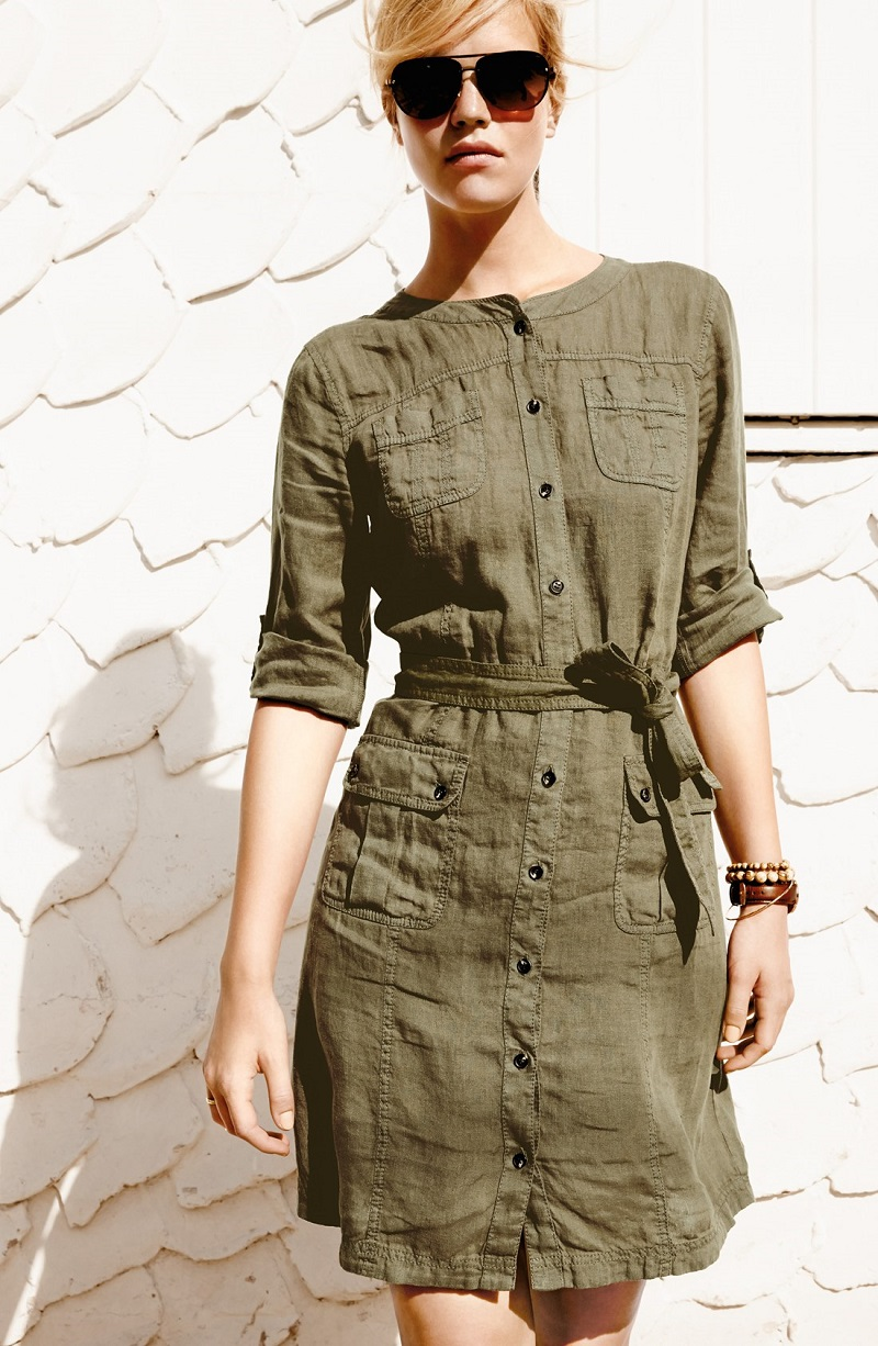 Caslon Linen Cargo Dress