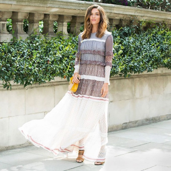 Chloé Patchwork-print Tiered Silk Gown