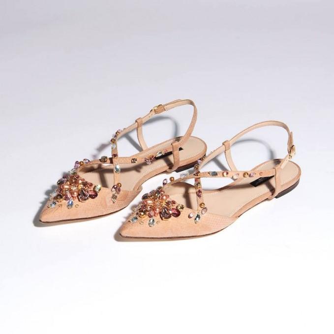 Dolce & Gabbana Rose-brocade Embellished Flats
