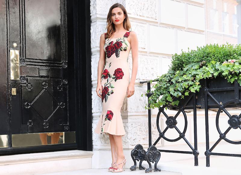Dolce & Gabbana Rose-print Fluted Cady Dress