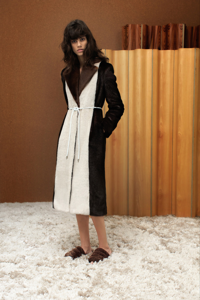 Edun Tri-colour Faux-fur Long Coat