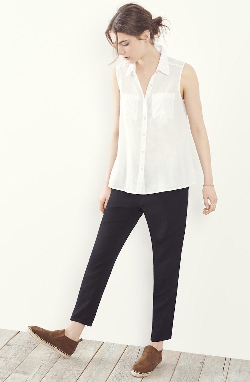 Eileen Fisher Classic Collar Organic Cotton Shirt