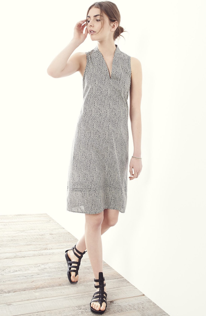 Eileen Fisher Print Cotton V-Neck Shift Dress