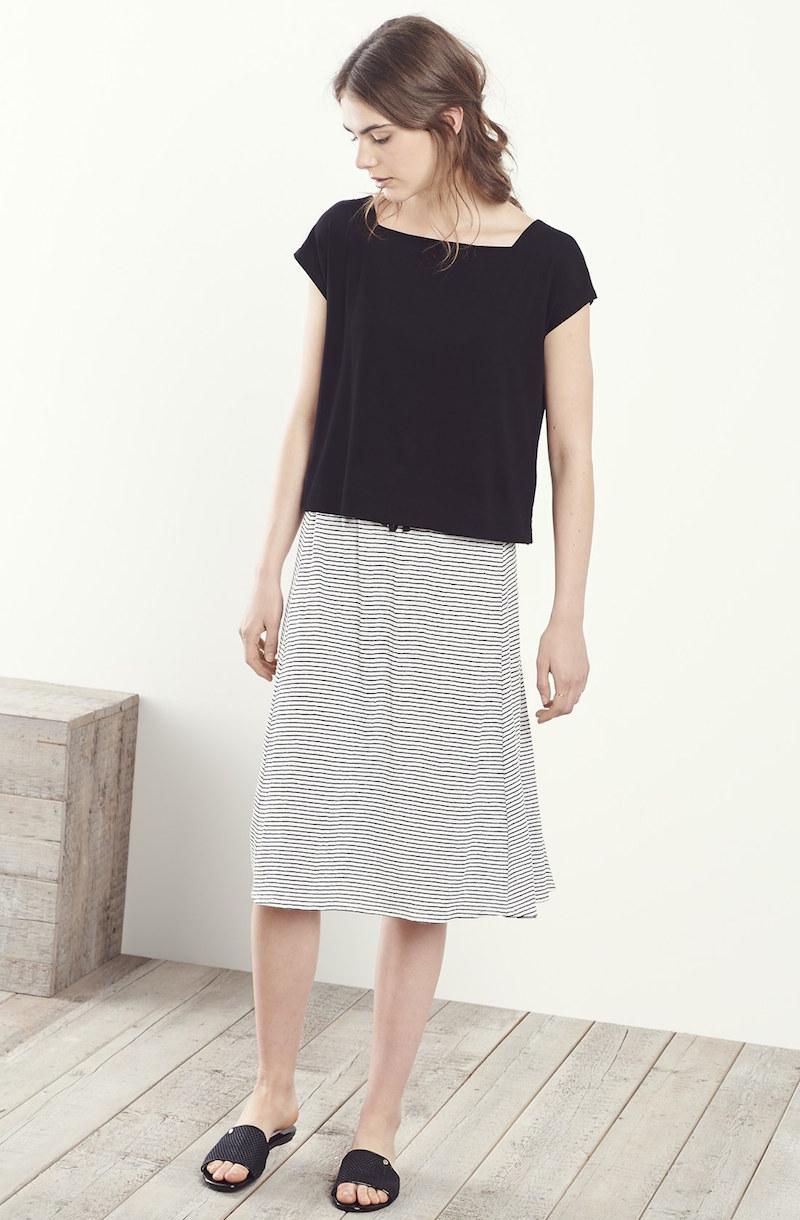 Eileen Fisher Stripe Organic Linen Drawstring Knee Length Skirt