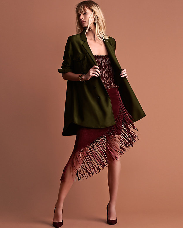 Exclusive for Intermix Goat Suede Underlay Fringe Skirt