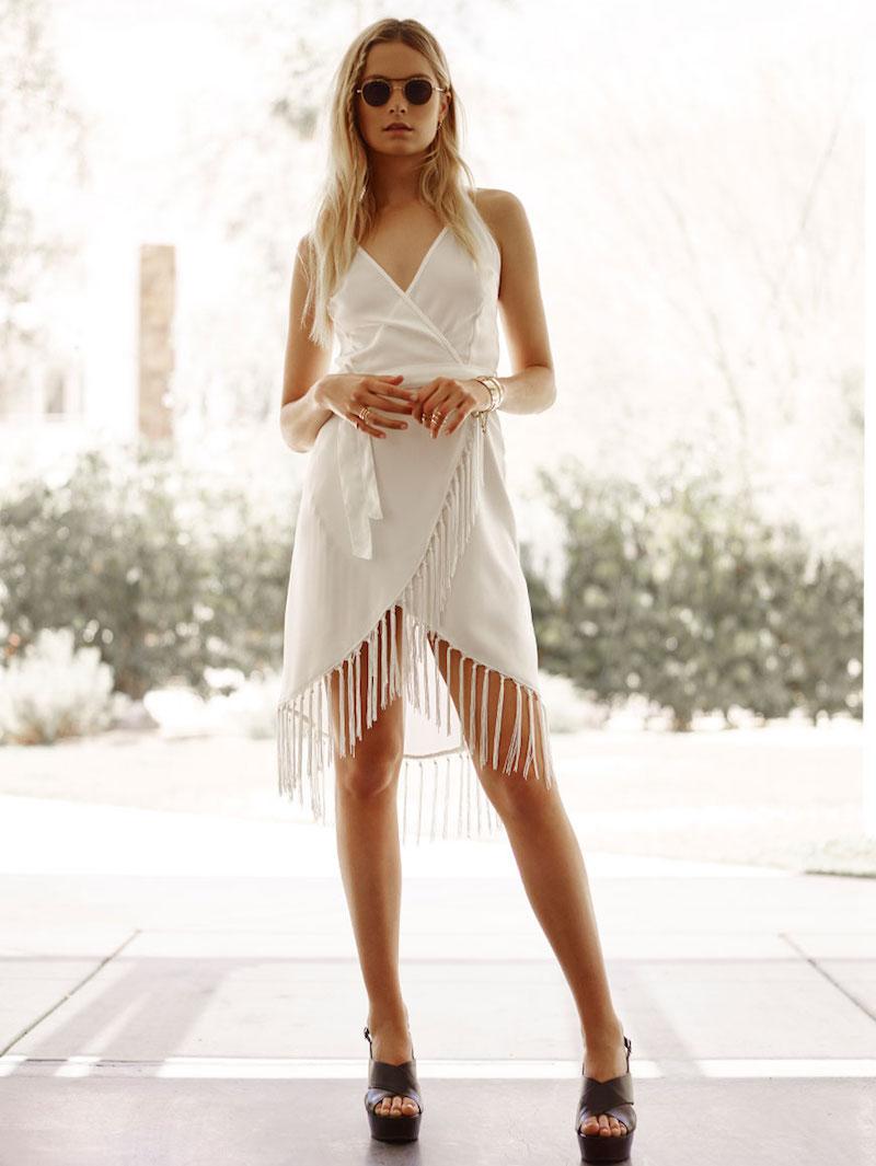 GLAMOROUS Fringe Wrap Dress