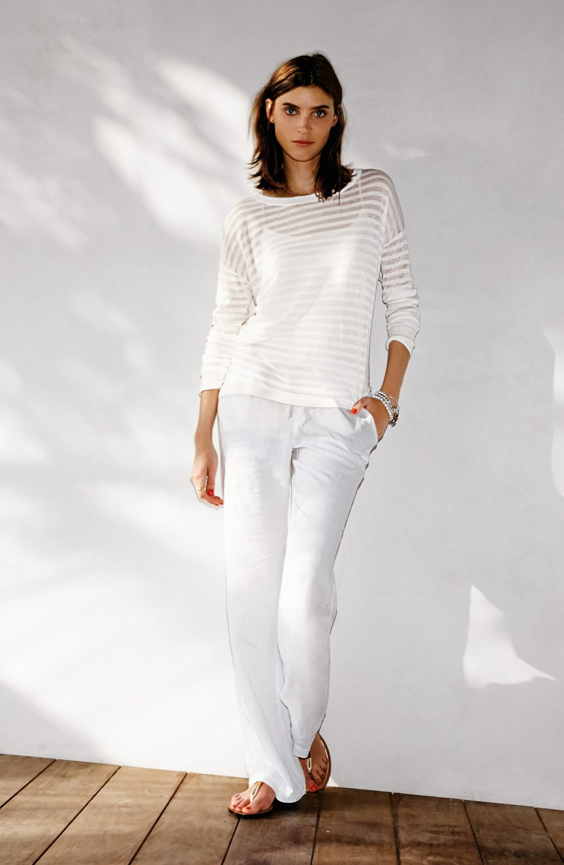 Halogen Sheer Stripe HighLow Pullover