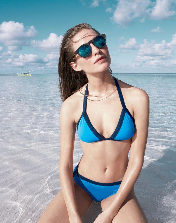 J.Crew Colorblock halter bikini top