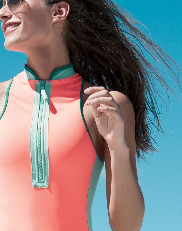 J.Crew Neon zip-neck one-piece swimsuit-