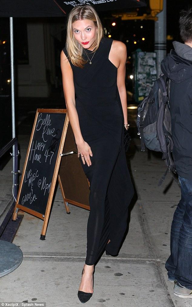 Karlie Kloss in Alexander Wang Asymmetrical Draped Gown_1