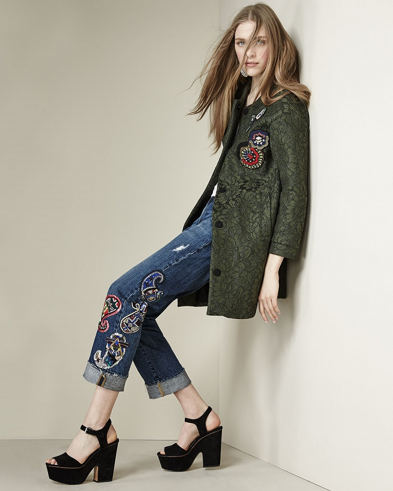 MSGM 34-Sleeve Lace Coat W Beaded Applique