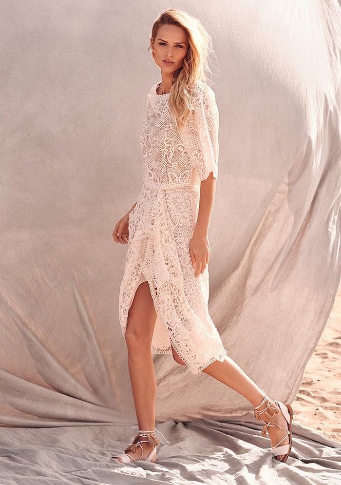 Marchesa Lace Threadwork Cocktail Dress