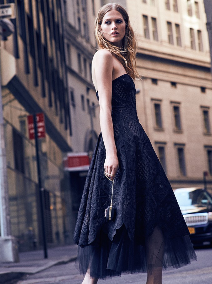 Marchesa Notte Strapless Tea Length Gown